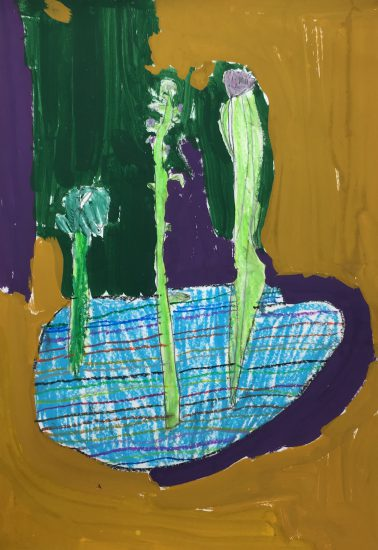 幼児 絵画/おめでとうの花