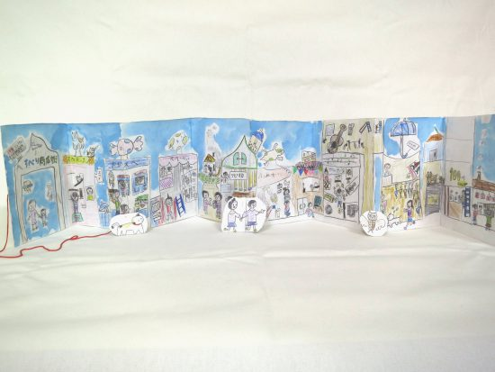 小学生 絵画/広がる空想商店街