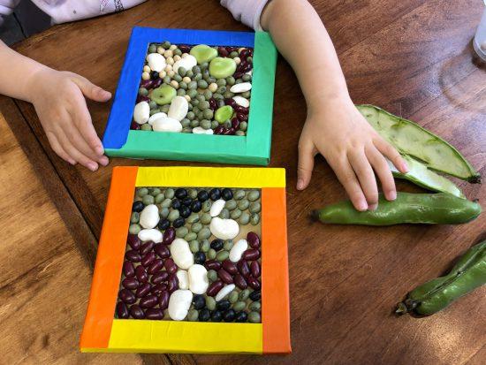 親子の造形/お豆あそび・並べる
