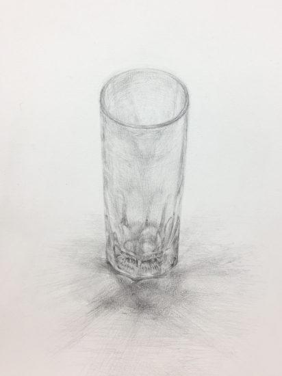 初めての鉛筆デッサン「ガラスの質感に迫る!」
