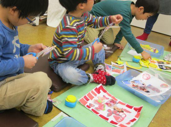 幼児 作品展準備/虹色のコラージュ