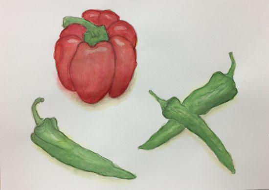 おとな/顔彩で夏野菜を描く