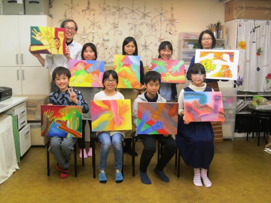 小学生高学年 油絵/作品合評会『手の喜怒哀楽』