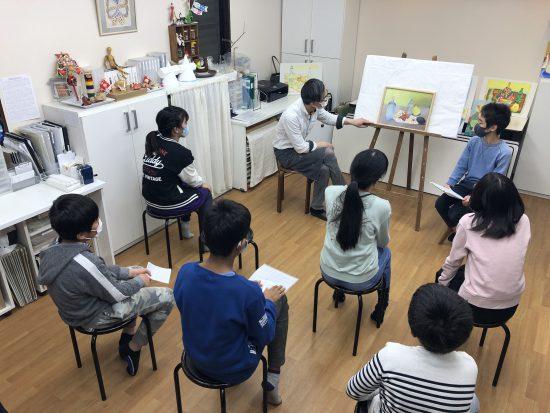 小学生高学年 油絵 絵画/秋の制作合評会