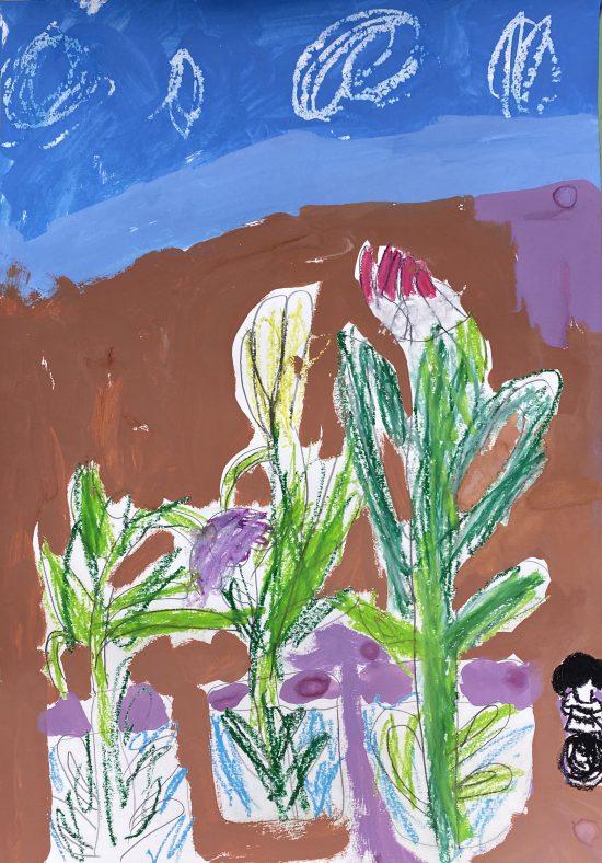 幼児 絵画/梅の木とチューリップ